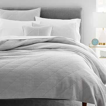 Textured Jacquard Quilt, Full/Queen, Stone Gray - West Elm