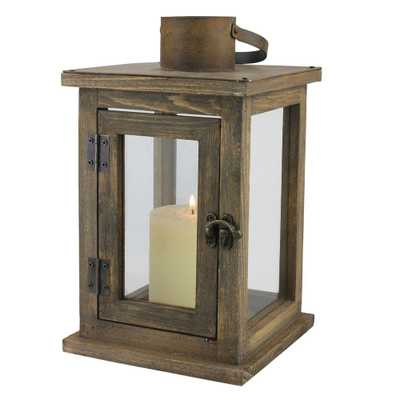 11 in. H Rustic Wood Lantern - Home Depot