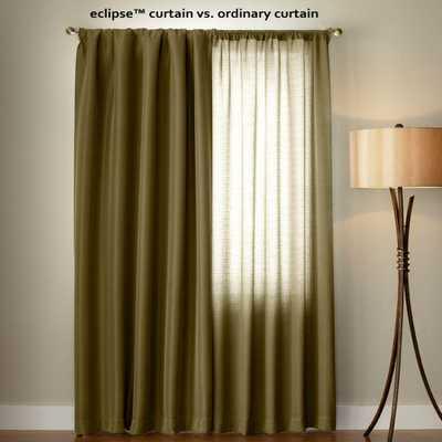 Eclipse Microfiber Blackout Moss (Green) Grommet Curtain Panel, 95 in. Length - Home Depot
