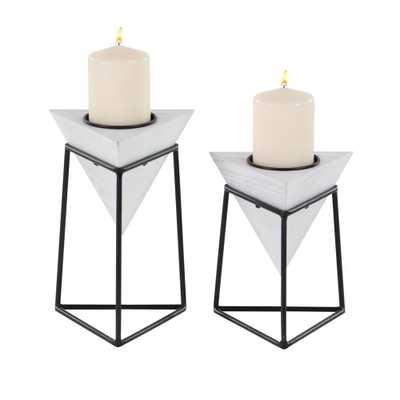 White Wood and Iron Candle Holders with Black Stands (Set of 2) - Home Depot