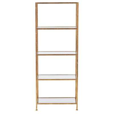 Bella Aged 24 in. Wide Gold Glass Bookcase, Aged Gold - Home Depot