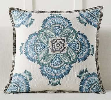 "Xavier Block Print Inspired Pillow Cover, 24"", Blue Multi - Pottery Barn"