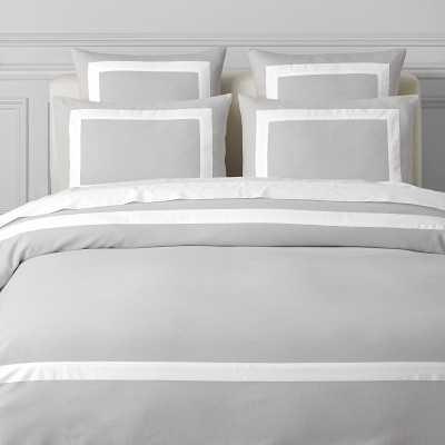 Border Pique Textured Bedding, Duvet Cover, King/Cal King, Light Grey - Williams Sonoma