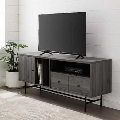 "Welwick Designs 60"" Modern TV Console with Record Storage - Slate Grey, Slate Gray - Home Depot"