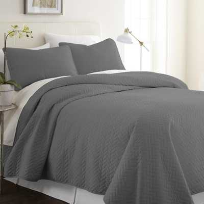 Herring Gray King Performance Quilted Coverlet Set - Home Depot
