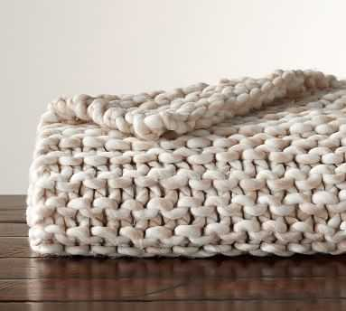 Chunky Hand-Knit Throw, 44x56 Inches, Neutral - Pottery Barn