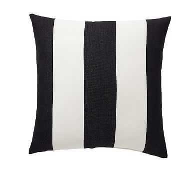 "Outdoor Pb Classic Stripe Pillow, 20"", Black - Pottery Barn"
