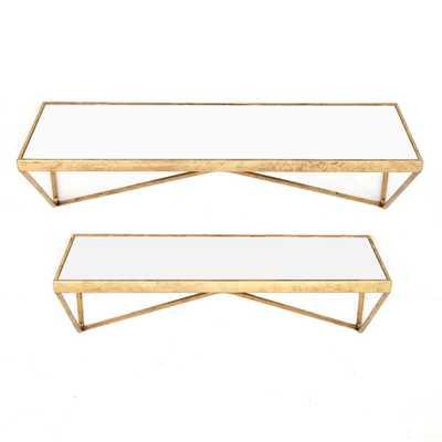 Gold Mirrored Wall Shelf (Set of 2) - Home Depot