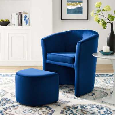 MODWAY Divulge Performance Velvet Arm Chair and Ottoman Set in Navy, Blue - Home Depot