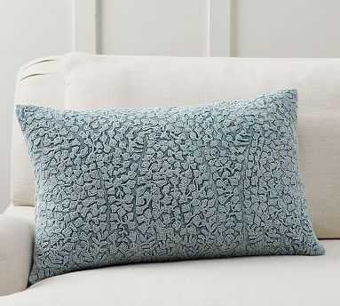 """Reign Embroidered Lumbar, 16x26"""", Chateau Blue - Pottery Barn"""