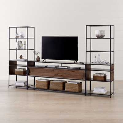 """Knox Black 76"""" Industrial Media Console with 2 Tall Open Bookcases - Crate and Barrel"""