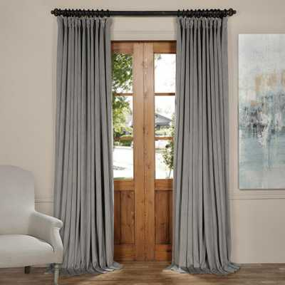 Exclusive Fabrics & Furnishings Blackout Signature Silver Grey Doublewide Blackout Velvet Curtain - 100 in. W x 96 in. L (1 Panel) - Home Depot