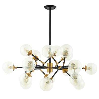 Gribble Sparkle Amber Glass And Antique Brass 18 Light Mid-Century Pendant Chandelier - Wayfair
