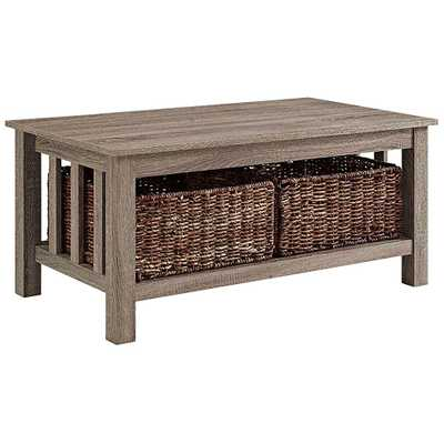 Mission Gray Driftwood with Totes Storage Coffee Table - Style # 31C00 - Lamps Plus