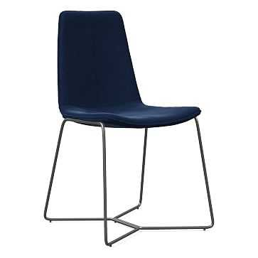 Slope Dining Chair, Charcoal Leg, Performance Velvet, Ink Blue, Charcoal - West Elm