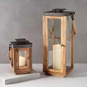 Wood + Rope Lantern, Wood, Natural/Grey, Small - West Elm