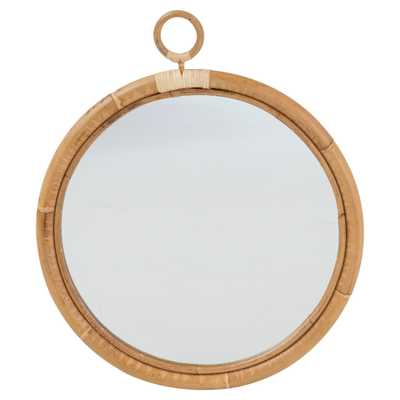 Talia Coastal Beach Brown Rattan Wall Round Mirror - Medium - Kathy Kuo Home