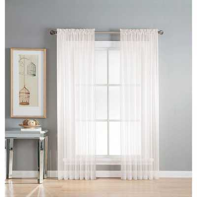 Window Elements Sheer Diamond Sheer Voile Extra Wide 84 in. L Rod Pocket Curtain Panel Pair, White (Set of 2) - Home Depot