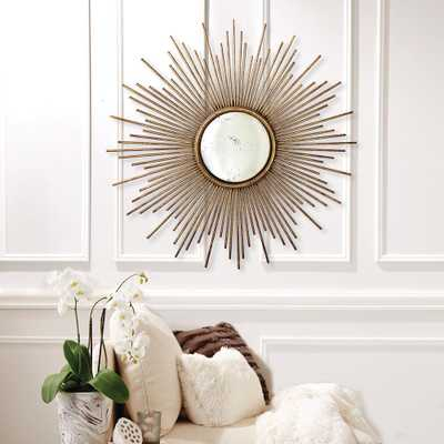 39-3/4 in. Dia Sunburst Antiqued Gold Wall Mirror - Home Depot