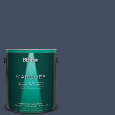 BEHR MARQUEE 1 gal. #S520-7 Night Flight One-Coat Hide Semi-Gloss Enamel Interior Paint - Home Depot