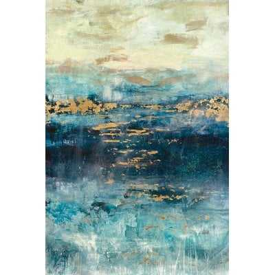 'Teal and Gold Scape' Painting Print on Canvas - Wayfair
