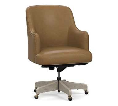 Reeves Leather Desk Chair with Gray Wash Frame, Statesville Toffee - Pottery Barn