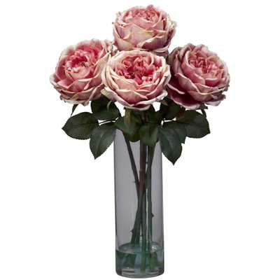 Nearly Natural 18 in. H Pink Fancy Rose with Cylinder Vase Silk Flower Arrangement - Home Depot