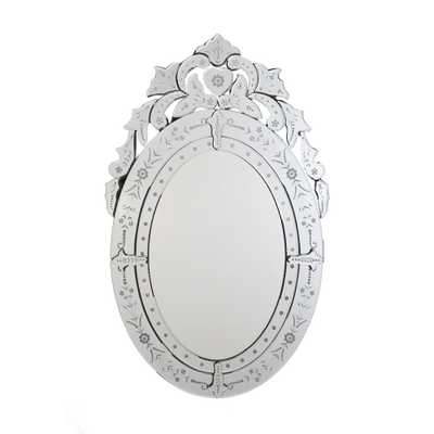 Afina Radiance Venetian 26 in. x 41 in. Framed Oval Traditional Cut Glass and Etched Wall Mirror in Clear - Home Depot