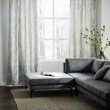 "Bark Texture Jacquard Curtain, Blackout Lining, Platinum, 48""x108"" - West Elm"