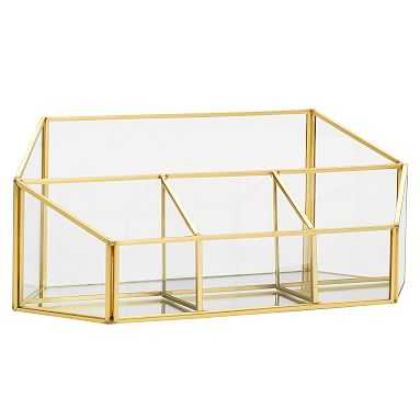 Skyline Divided Desktop Organizer, Glass/Gold - Pottery Barn Teen
