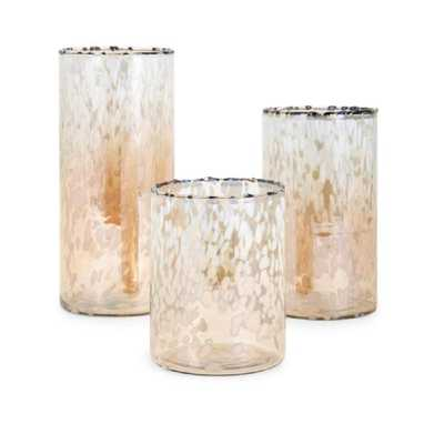 IMAX Trisha Yearwood Luxe Glass Hurricanes (Set of 3), Gold - Home Depot