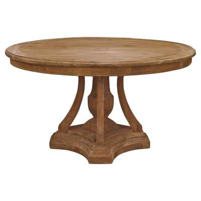 Maxime French Country Pine Reclaimed Elm Round Pedestal Dining Table - Kathy Kuo Home