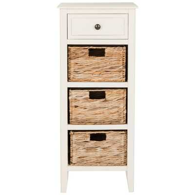 Michaela Distressed White Storage Side Table - Home Depot