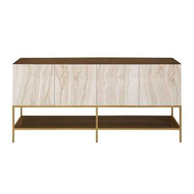 Terra Soft Brass and Faux Marble Entertainment Unit, Soft Brass/Marbled Ash Veneer - Home Depot