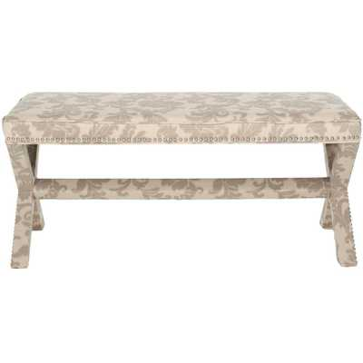 Melanie Taupe and Beige Bench, Taupe And Beige Print - Home Depot