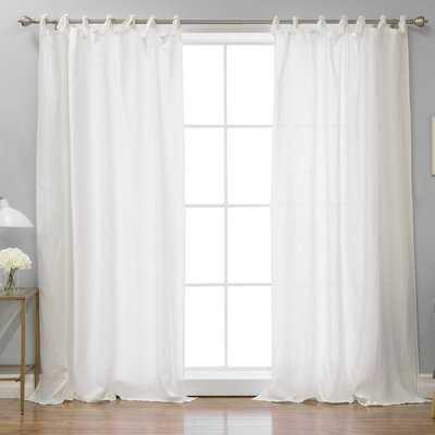 Kerry Romantic Solid Semi-Sheer Single Curtain Panel - Birch Lane