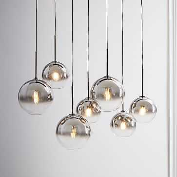 Sculptural Glass 7-Light Linear Chandelier, S-M Globe, Silver Ombre Shade, Bronze Canopy - West Elm