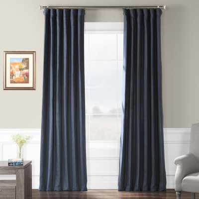 Exclusive Fabrics & Furnishings True Navy Blue French Linen Curtain - 50 in. W x 84 in. L - Home Depot