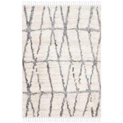 Triplett Fringe Shag Cream/Gray Area Rug - Wayfair