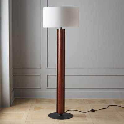 Rivet Brown Leather Floor Lamp - CB2