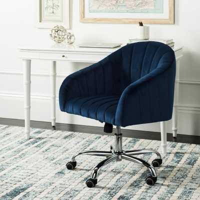 Safavieh Themis Navy/Chrome (Blue/Grey) Velvet Swivel Office Chair - Home Depot
