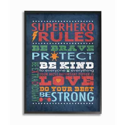 'Superhero Rules' Framed Textual Art - Wayfair