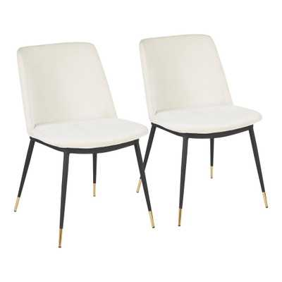 Lumisource Wanda Cream (Ivory) Dining Chair with Gold Accents (Set of 2) - Home Depot