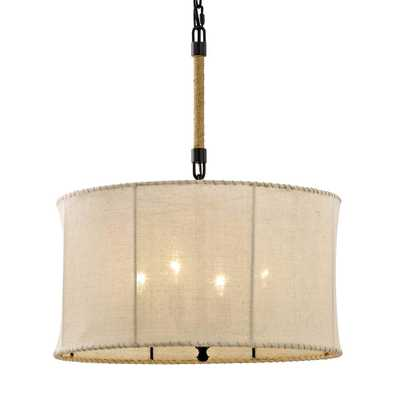 Fifth and Main Lighting Key West 4-Light Aged Bronze Drum Pendant with Hand-Stitched Burlap Shade - Home Depot