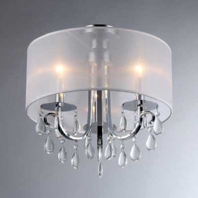 Warehouse of Tiffany Muses 3-Light Chrome Chandelier with Shade - Home Depot