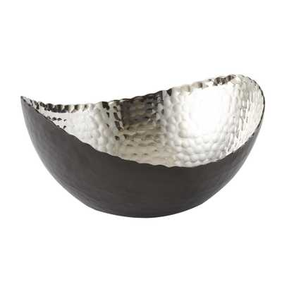 7.25 in. by 6.5 in. Hammered Eclipse Oval Bowl in Black and Silver - Home Depot