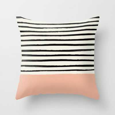 "Peach X Stripes Throw Pillow - Indoor Cover (16"" x 16"") with pillow insert by Floresimagespdx - Society6"