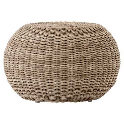 Airah Modern Classic Brown Rounded Woven Wicker Outdoor Accent Stool - Kathy Kuo Home