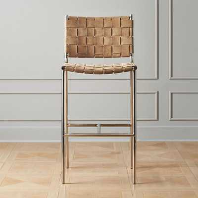 "Woven Brown Suede Bar Stool 30"" - CB2"