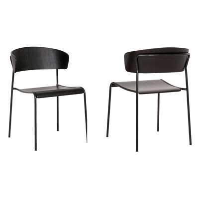 Ricketson Black Wood And Metal Open Back Dining Chairs (Set Of 2) - Wayfair